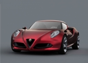 Alfa Romeo 4C Spider staat in Frankfurt 2012